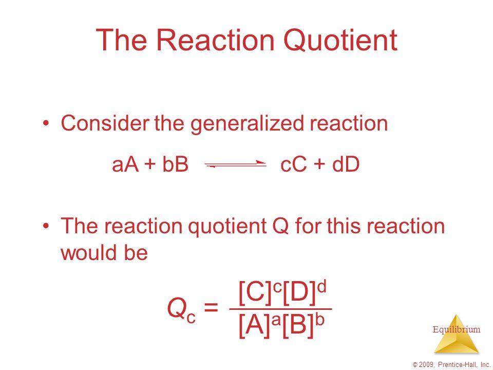 The Reaction Quotient Qc = [C]c[D]d [A]a[B]b